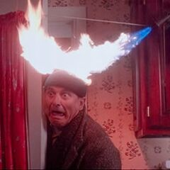 Harry is sprayed with fire on his head from <i>Home Alone</i>