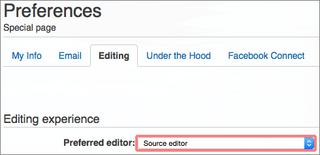 Wikia Source Editor preferences