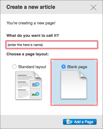 Create a new article