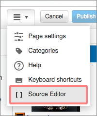 Source Editor from visual editor 2