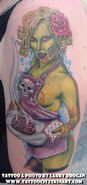 Green Zombie Housewife Baking Brains Tattoo by Larry Brogan