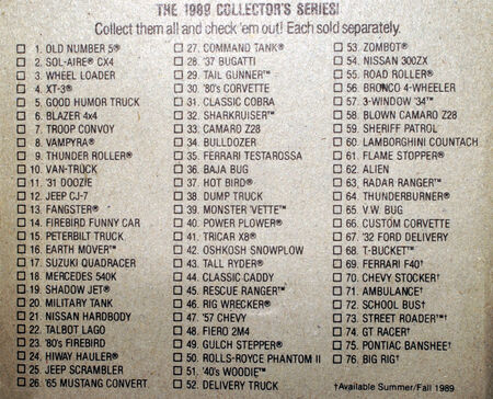 List of 1989 Hot Wheels - B6619b