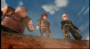 Out of the frying pan scene, Hiccup, Fishlegs and Mala