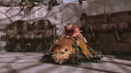 Saddle with giant maces around
