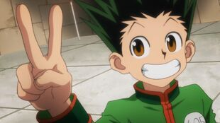 Gon wins his match at trick tower