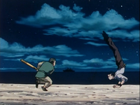 Kenmi dodging Tonpa's attack (1999 anime).png