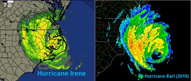File:Hurricane Irene 2011 and Hurricane Earl 2010 MHX Long Range Base Radar Comparison.png