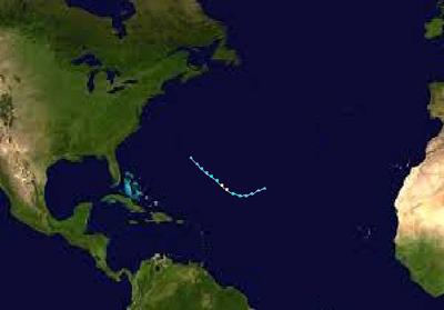 Subtropical Storm Hillary Track