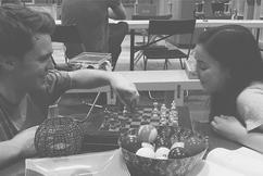 Peyton and Sarah Playing Chess