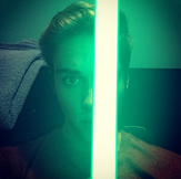 Austin and his green glowing stick