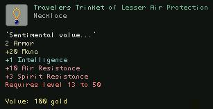Travelers Trinket of Lesser Air Protection