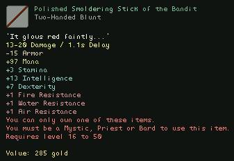 Polished Smoldering Stick of the Bandit
