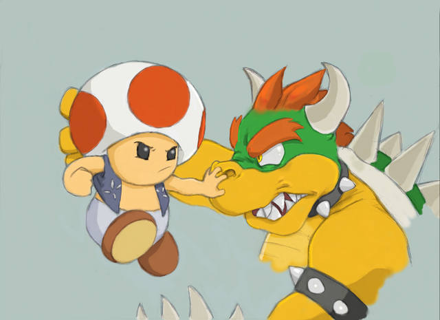 File:Bowser and Toad by GoreChick.png