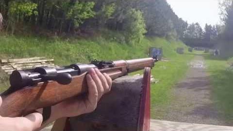 Arisaka Type 99 Short Rifle in 7.7x58mm. Short range.
