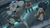 Shindou and Tsurugi dodging the robots CS 9 HQ