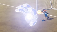 Endou's God hand getting frozen by Eternal Blizzard
