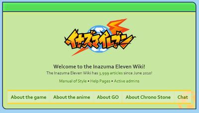 Inazuma Eleven Wiki Mainpage screenshot