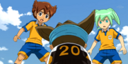 Tenma and Fei worried about Sinsuke