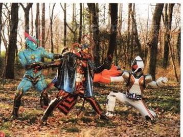 File:Kamen Rider Fourze & Inazuman vs Space Spiderman of Space Shocker in Super Hero Taisen Z.jpg