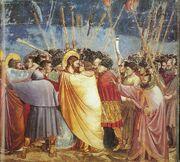 Giotto - Scrovegni - -31- - Kiss of Judas-1-