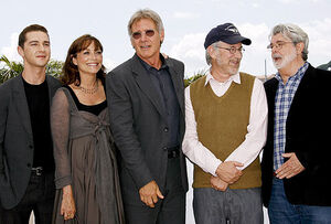 Labeouf, allen, ford, spielberg, lucas at Indy 4 at Cannes 2008