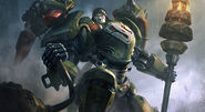 Siege Breaker Mecha Superman splash art