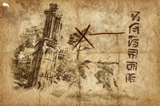 Worn treasure map open
