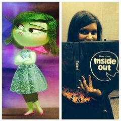 Mindy Kaling, the voice of Disgust, holding the script for the film at a recording session.