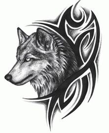 Tribal-design-and-wolf-head-tattoo