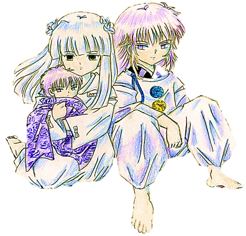 File:Kanna,infant and Hakudoshi from Inuyasha.png