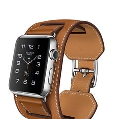 Silver Apple Watch Hermes with Stainless Steel Case and Cuff Hermes Brown Band