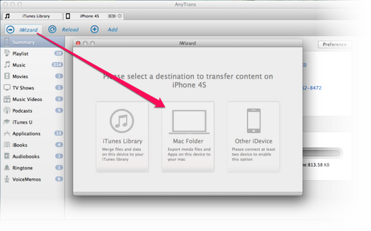 How to Transfer Music from iPhone to Macbook Pro Step 2