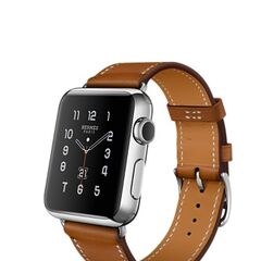 Silver Apple Watch Hermes with Stainless Steel Case and Single Strap Hermes Brown Band