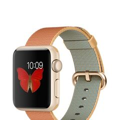Gold Apple Watch Sport with Orange Woven Nylon Band