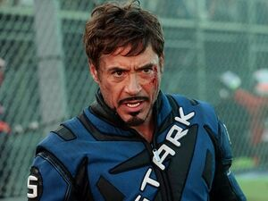 Tony Stark in his racing suit