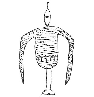 La Rubia's drawing of one of the unipodial robot aliens, APRO Bulletin