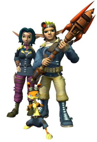 File:Jak, Daxter and Keira from TLF render.png