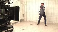 Daniel Craig filming the Gun Barrel