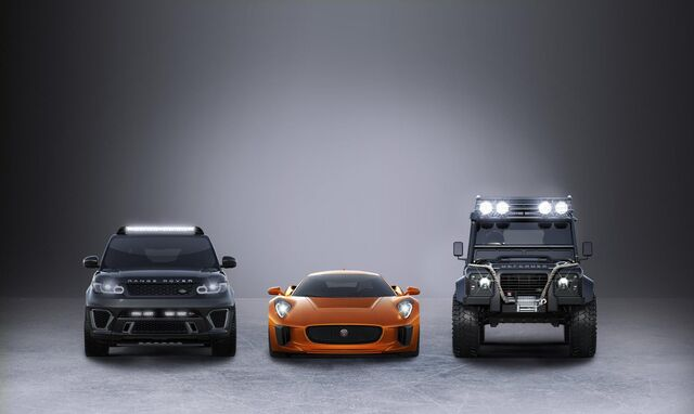 File:Jaguar C-X75, the Range Rover Sport SVR and Defender Big Foot.jpg