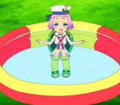 Miya playing at the pool