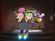 Jimmy Neutron Goddard with Cosmo & Wanda on his back