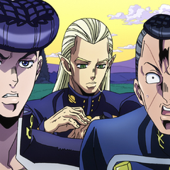 Josuke and Okuyasu marvel at the <a href=