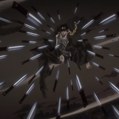 Jotaro, frozen in time, surrounded by a lethal amount of knives