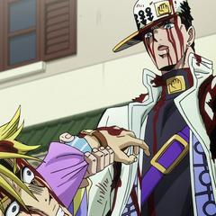 Jotaro inspects Kira's watch before declaring that he'll break his face.
