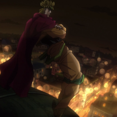 DIO gazes upon Cairo from the top of his mansion