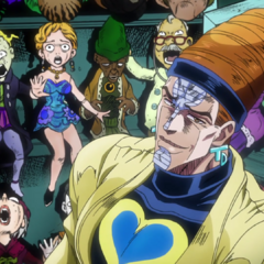 Showing off his soul-puppets to the Joestar group