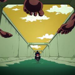 Josuke escapes down a sewer line.