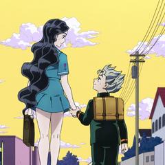 Yukako holds Koichi's hand as they go off to enjoy lunch.