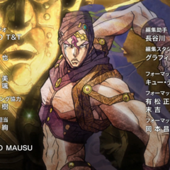 Kars as the last Pillar Man alive, centered in the ending credits (<a href=
