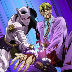 Killer Queen severing its master's left hand.